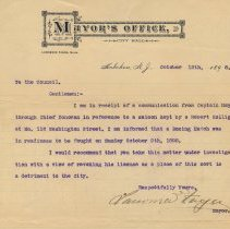 Image of Letter: Mayor Lawrence Fagan to Hoboken City Council, Oct. 12, 1898, re boxing match at 116 Washington St. & license revocation. - Correspondence