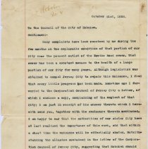 Image of Letter: Mayor Lawrence Fagan to Hoboken City Council, Oct. 21, 1893 re correspondence with Jersey City about Ravine Rd. Sewer nuisance. - Correspondence