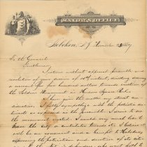 Image of Letter of veto from Mayor Edwin J. Kerr, Hoboken, to City Council re $500 donation for erection of Soldiers Monument in Hudson Square Park, Nov. 23, 1887. - Correspondence