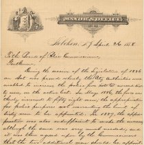 Image of Letter from Mayor Edwin J. Kerr & as President, Board of Police Commissioners, to Board of Police Comm. protesting John J. Stanton appointment & William Kerrigan retirement, Apr. 26, 1888. - Correspondence