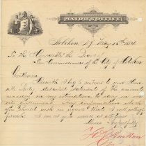 Image of Letter from Mayor H.L. Timken, Hoboken, to Board of Tax Commissioners, May 16, 1884 re statements of amounts necessary to carry on city government. - Correspondence