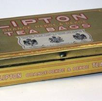 Image of Tin: Lipton Tea, Orange Pekoe & Pekoe Tea Bags. Manufactured in Hoboken, N.J. No date, ca. 1921-1936. - Tin