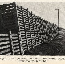 Image of detail pg 523: Fig. 6 Type of Concrete Crib Retaining Wall Used to Hold ...