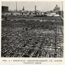 Image of detail pg 522: Fig. 4 Four-way Reinforcement on North Viaduct Deck
