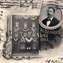 Image of detail front, lower left: photo exterior view; vignette portrait of Brandes