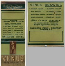 Image of Matchbook, oversize: Venus Drawing Pencils. American Pencil Co.,  Hoboken, N.J. N.d, ca. 1941. - Novelty, Promotional
