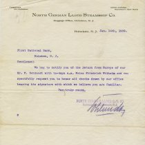 Image of TLS, 2: letterhead of North German Lloyd Steamship Co., Baggage Office, Hoboken, N.J. to First National Bank, Hoboken; Jan. 14, 1909; Nov. 13, 1911. - Letter