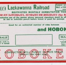Image of Ticket blank: Lackawanna R.R. restricted monthly commutation between station to be entered & Hoboken for use in 1956. - Ticket, Transportation