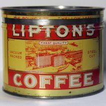 Image of Can: Lipton's Yellow Label Brand Coffee. 1 lb. can. Packed & distributed by Thomas J. Lipton, Inc., Hoboken  et al. Copyright 1926.  - Can