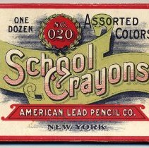Image of Box: School Crayons No. 020, Assorted Colors, One Dozen. American Lead Pencil Co., N.Y. N.d., ca. 1890-1910. - Box