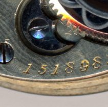 Image of detail back, top: movement serial number: 1518983