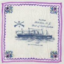 Image of Handkerchief, souvenir: Greetings, Hoboken N.J., Port of Debarkation, U.S.S. Finland.  - Handkerchief