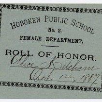 Image of Reward of Merit 10: Alice Ketcham, Oct. 14, 1887