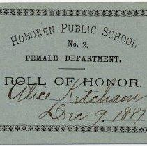 Image of Reward of Merit 13: Alice Ketcham, Dec. 9, 1887