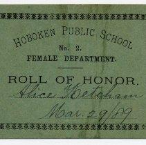 Image of Reward of Merit 20: Alice Ketcham,  March 28, 1889