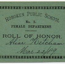 Image of Reward of Merit 19: Alice Ketcham, March 22, 1889