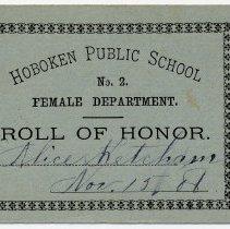 Image of Reward of Merit 6: Alice Ketcham, Nov. 15, 1886