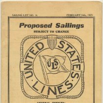 Image of Brochure: United States Lines. Proposed Sailings. Sailing List No. 16. Feb. 24, 1923. Sailing from Hoboken, N.J.  - Schedule