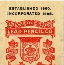 Image of detail upper right: American Lead Pencil insignia logo; Hoboken, N.J.
