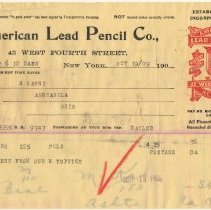 Image of Invoice: American Lead Pencil Co., 43 West Fourth St., N.Y.; Pencil & Lead Works, Hoboken, N.J.. Oct. 19, 1909. - Invoice