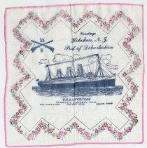 Image of Handkerchief, souvenir: Greetings, Hoboken N.J., Port of Debarkation, U.S.S. Leviathan.  - Handkerchief