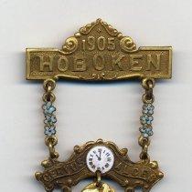 Image of Commemorative pin: Hoboken Lodge No. 74, BPOE [Benevolent Protective Order of Elks], 1905. - Pin, Fraternal