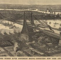 Image of detail illus. front page: THE PROPOSED HUDSON RIVER SUSPENSION BRIDGE...