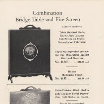Image of pg 14 Combination Bridge Table and Fire Screen