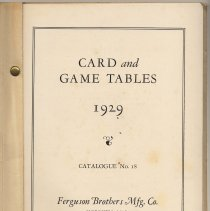 Image of pg [1] Card & Game Tables 1929, Ferguson Brothers Manufacturing Co.
