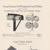 Image of pg 20 Attachments for Ferguson Card Tables; Ash Tray, Tumber Holder, Shelf