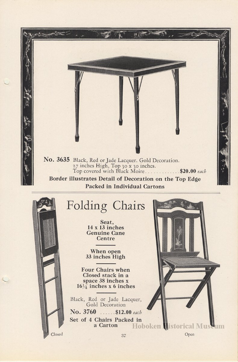 Catalog Furniture Card And Game Tables 1929 Catalogue