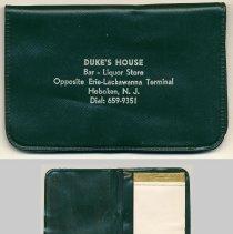 Image of Advertising pocket folder: Duke's House. Bar-Liquor Store. Opposite Erie-Lackawanna Terminal. Hoboken, N.J. Issued ca. 1961-1970. - Novelty, Promotional