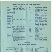 Image of pg 9 Throught Rates to the Continent; European Rail Fares