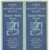 Image of Brochure: United States Lines. Cabin and Second Class Rates. (Fare schedule) No. 7, Dec. 1, 1926.  - Brochure