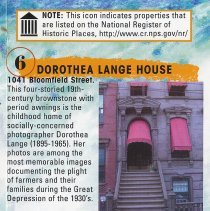 Image of 6 Dorothea Lange House; note re icon National Register of Historic Places