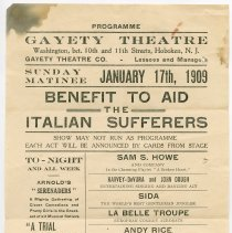 Image of Gayety Theatre program January 17th, 1909