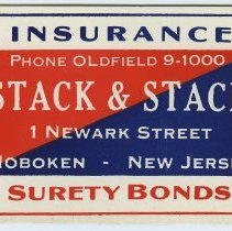 Image of Blotter, ink: Stack & Stack, 1 Newark Street, Hoboken, New Jersey. Insurance; Real Estate. N.d., ca. 1940-1960. - Blotter, Ink