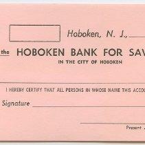 Image of Receipt, blank: Hoboken Bank for Savings, Hoboken, N.J. N.d., ca. 1950s-1960s. - Form