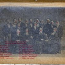 Image of group photo with printed tissue guard with identification key, enhanced