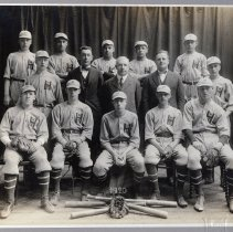 Image of cropped to image, enhanced: 1920 Hoboken High School baseball team