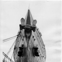 Image of B+W photo of a head-on bow view of the Leviathan at its Hoboken pier, Hoboken, ca. Jan. 10 to 12, 1938.  - Print, Photographic