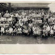 Image of B+W panoramic group photo taken at Maxwell House Annual Picnic, Mazabrook Farms, Parsippany, NJ, July 13, 1957.  - Photograph