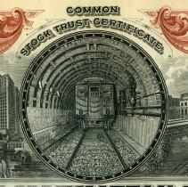 Image of detail front, vignette illustration of train in tunnel