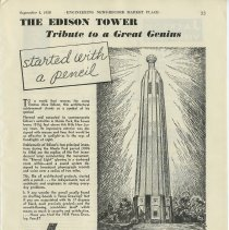 Image of Ad, magazine: The Edison Tower, Tribute to a Great Genius; Venus Pencils, American Pencil Co., Hoboken, N.J. Sept. 1, 1938. - Ad, Magazine