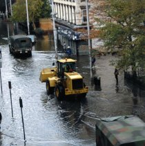 Image of Color photos, 5, of flooding from Hurricane Sandy on 1st St., Adams to Grand Sts., Hoboken, Oct. 30, 2012. - Print, Photographic