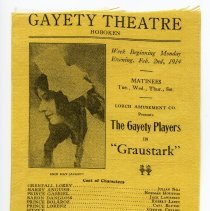 Image of Programs, 4, printed on silk cloth from the Gayety Theatre, Washington & 10 Streets, Hoboken, for Feb. 1914. - Program, Theater