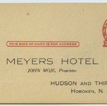 Image of front: Meyers Hotel addressee; postage  -2 cent Jefferson, 1 cent overprint