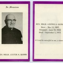 Image of Memorial card: Rev. Msgr. Lester A. Quinn. Sept. 1975. - Card, Mourning