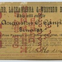 Image of Pass, D.L.& W.R.R., Hon. Augustus C. Canfield, 1878