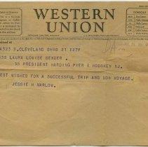 Image of Telegram to Miss Laura Louise Bender, S.S. President Harding, Pier 4, Hoboken, N.J., June 21, 1927, with bon voyage message. - Telegram